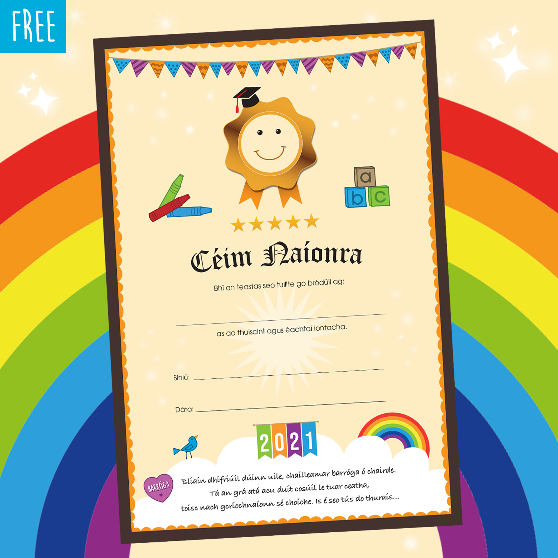 FREE Preschool Graduation Certificate 2021 as Gaeilge © Kooley Design