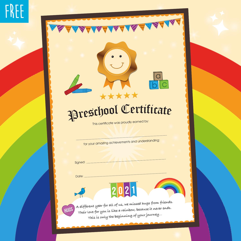 FREE Preschool Certificate 2021 © Kooley Design
